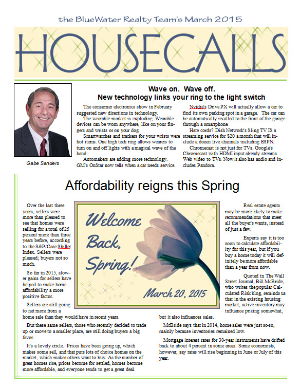March 2015 BlueWater Realty Team HouseCalls Newsletter