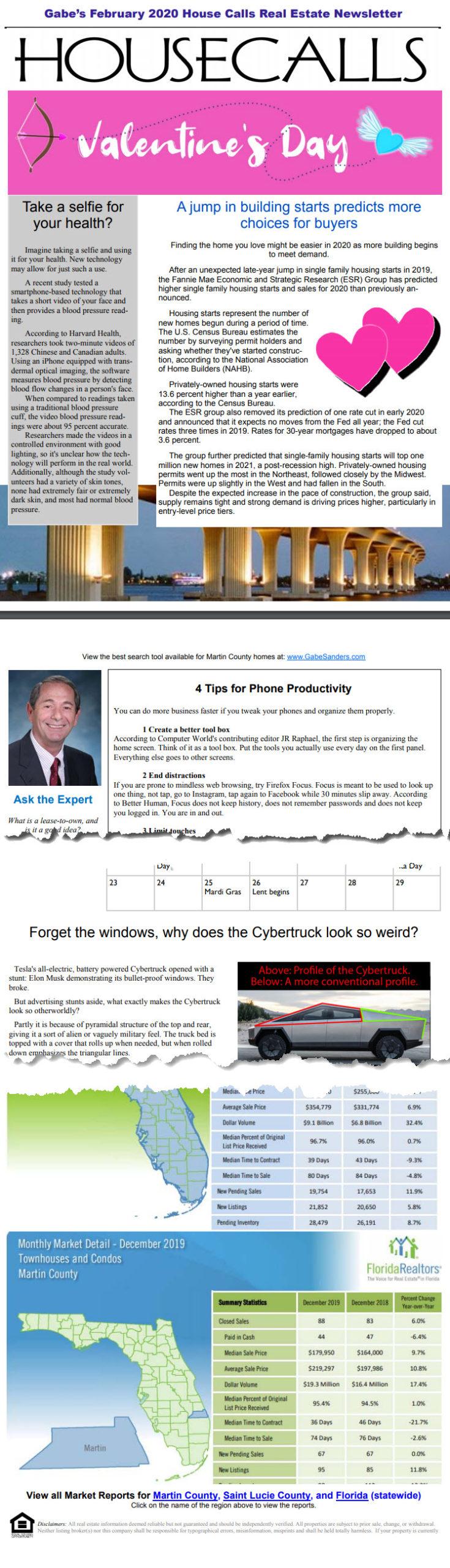 Gabe's February 2020 House Calls Real Estate Newsletter