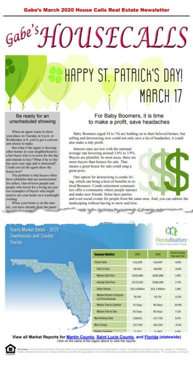 Gabe's March 2020 House Calls Real Estate Newsletter