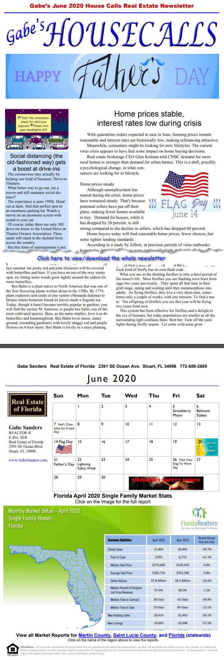Gabe's June 2020 House Calls Real Estate Newsletter