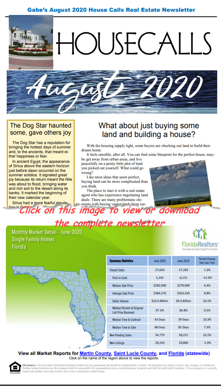 Gabe's August 2020 House Calls Real Estate Newsletter