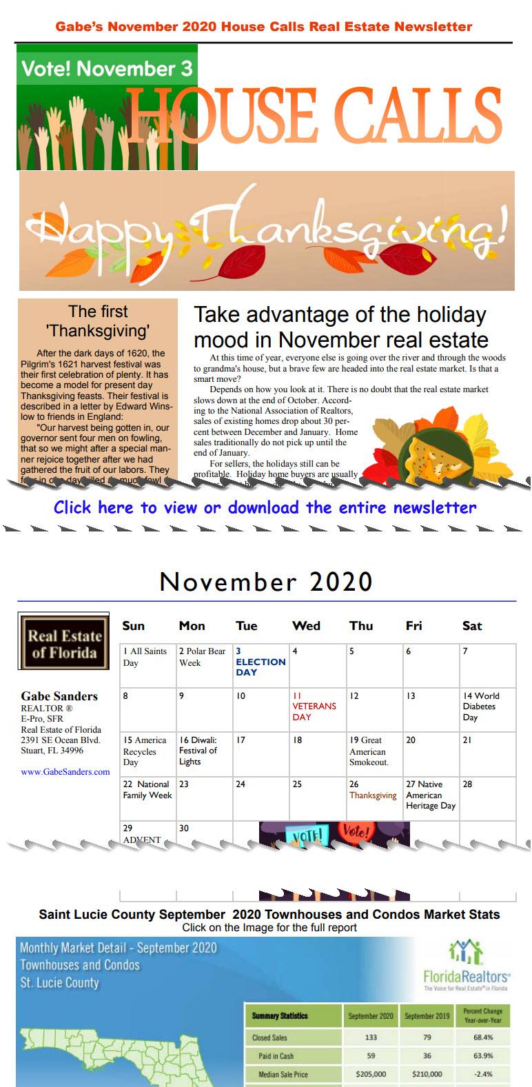 Gabe's November 2020 House Calls Real Estate Newsletter
