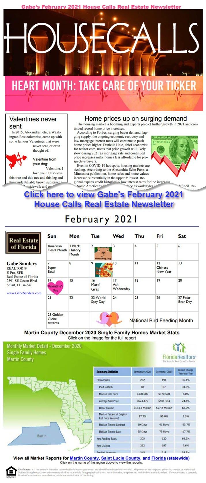 Gabe's February 2021 House Calls Real Estate Newsletter