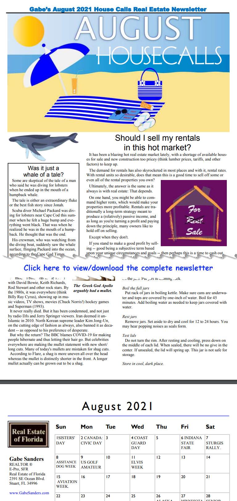 Gabe's August 2021 House Calls Real Estate Newsletter